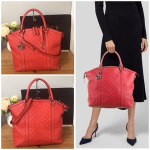 🛍GUCCI Red Micro Guccissima Large Dome 2 Way Bag